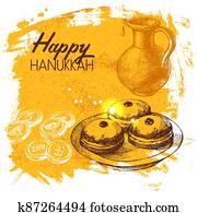Hand drawn sketch Hanukkah background. Israel festival card. Vector illustration