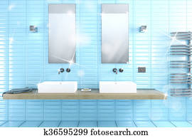 Shiny bathroom 3d rendering