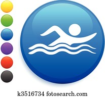swimming icon on round internet button