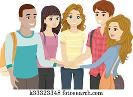 Teens Group Hands In