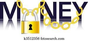 Vector - Money, chain and padlock