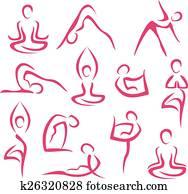 big set of yoga symbols