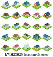 House icons set, isometric style