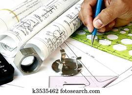 Draftsman with engineering plans