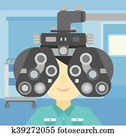 Patient during eye examination vector illustration