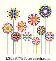 Vector colorful abstract flowers