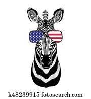 Zebra Horse Hand drawn illustration for tattoo, emblem, badge, l