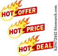 Hot offer, price and deal flame sticker badges
