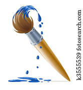 brush for painting with dripping blue paint