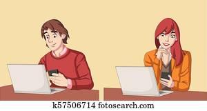 Couple working