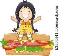 Girl on Sandwich