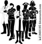 polizei, feuer, doktor, notfall, team, silhouetten