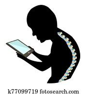 text, hals, syndrome., spinal, curvature,, kyphosis,, lordose, von, dass, neck,, scoliosis,, arthrosis., unsachgem??, haltung, und, stoop., schwarz wei?, silhouette, icon., infographics., vektor, illustration.