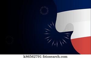 france flag with fireworks of happy bastille day vector design