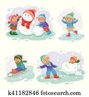 satz, vektor, winterbilder, heiligenbilder, mit, klein, kindern