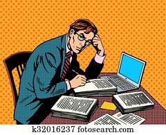 schriftsteller, redakteur, journalist, akademisch, thesis, papier, laptop
