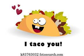 Taco character. Mexican food. Funny tacos with eyes. illustration. Postcard or poster fast food, street food.