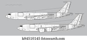Boeing KC-135 Stratotanker. Outline vector drawing