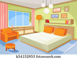 cartoon illustration interior orange-blue bedroom, a living room with a bed, soft chair