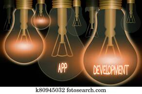 Conceptual hand writing showing App Development. Business photo text Development services for awesome mobile and web experiences.