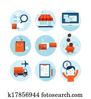 Flat icons for online shopping