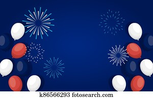 france balloons with fireworks of happy bastille day vector design
