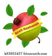 Rosh Hashanah - New Year in Hebrew. Vector illustration with apple, pomegranate and foliage isolated on a white background. Great for web banner, poster or flyer design