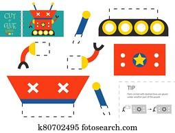 schneiden, und, klebstoff, papier, toy., vorschulisch, kinder, vektor, erzieherisch, arbeitsblatt