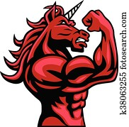 Unicorn Bodybuilder Muscular Body