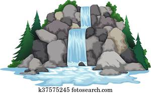waterfall with landscape view
