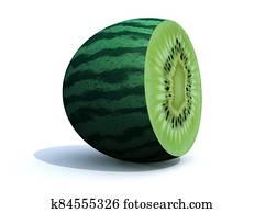 watermelon cut with kiwi inside on it
