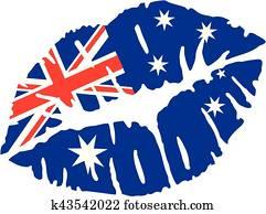 Australia flag kiss