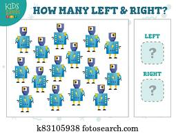 How many left and right cartoon robot characters counting game vector illustration