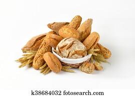 unterschiedliche, arten, von, bread