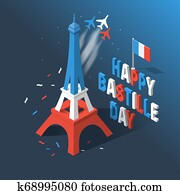 Bastille Day, Independence Day of France, symbols. French flag and map icons set in 3d style.