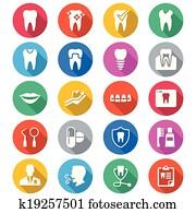 dental, flache, farbe, heiligenbilder