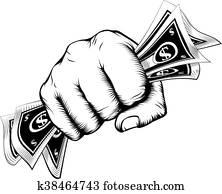 Fist holding money concept