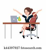 Getting money from laptop monitor screen - Online Transaction, Online Banking girl happy woman