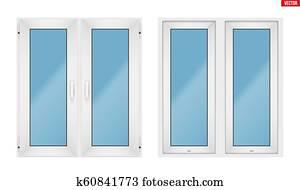 fenêtre en pvc avec deux foulards