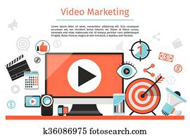 Video marketing. Abstract vector concept background