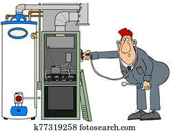 Worker troubleshooting gas appliances
