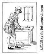 Carpenter in 1580, vintage engraving.