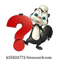 cute Skunk cartoon character with question sign