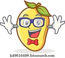 Geek mango character cartoon mascot