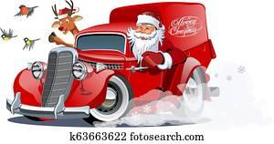 karikatur, früher, weihnachten, kleintransport, freigestellt, wei?, hintergrund