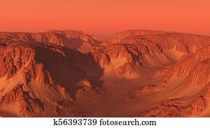 Mountain Canyon Landscape on Mars