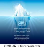 realistisch, eisberg, auf, wasser