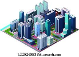 Vector isometric city center map