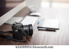 Closeup of a photographer's desk