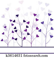 Love purple forest , hearts foliage